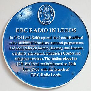 BBC Local Radio - Blue plaque placed by Leeds Civic Society outlining radio in Leeds.