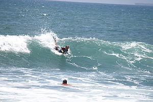 A bodyboarder rides at Bolsa Chica State Beach...