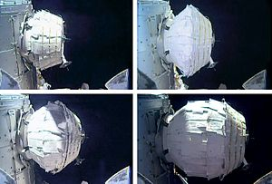 Inflatable space habitat - The Bigelow Expandable Activity Module (BEAM), attached to the ISS, being inflated on May 28, 2016