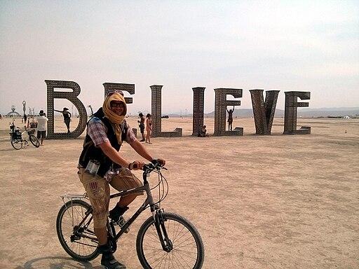 BELIEVE letters, the Playa, Burning Man 2013, Black Rock City, NV, USA