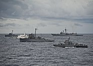 BRP Salvador Abcede (PG 114), BRP Miguel Malvar (PS 19), and BRP IloIlo (PS 32); PCG Pampanga (SARV 003); and USS Vandegrift (FFG 48)