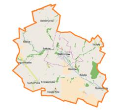 """Mapa konturowa gminy Baborów, na dole po prawej znajduje się punkt z opisem """"Rogów"""""""