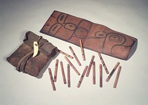 Handgame - Bag with 65 Inlaid Gambling Sticks, Tsimshian, 19th century