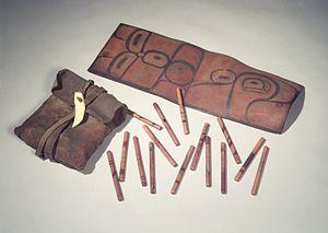 Tsimshian - Bag with 65 Inlaid Gambling Sticks, Tsimshian (Native American), 19th century, Brooklyn Museum
