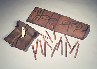 Tsimshian - Bag with 65 Inlaid Gambling Sticks, Tsimshian (Native American), 19th century, Brooklyn Museum