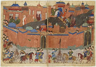 Destruction under the Mongol Empire - Drawing of the Mongol siege of Baghdad in 1258.