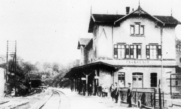 Feuerbach station after reconstruction in 1871–1872 with the Prag Tunnel in the background