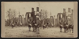 Battle of Moorefield - Ruins of bank and home in Chambersburg in 1864