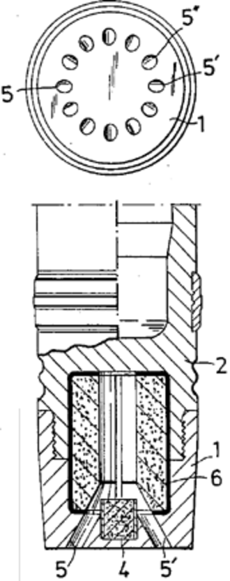 Base bleed - Diagram of a base bleed unit. The top diagram shows the bottom of the shell and the location of the gas vents. The bottom diagram is a cut-away view showing the gas generator mechanism.