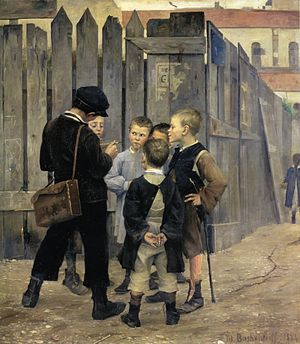 1884 in art - Image: Bashkirtseff The Meeting