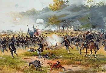 Attack of the Iron Brigade at Antietam (a lithograph from a painting by Thure de Thulstrup)
