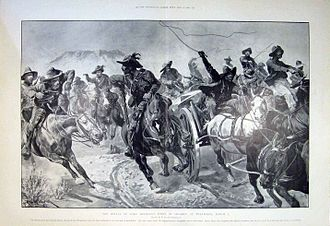 Battle of Tweebosch - Contemporary illustration of the defeat of Lord Methuen's force by De la Rey at Tweebosch, March 7, 1902, after a drawing by Richard Caton Woodville
