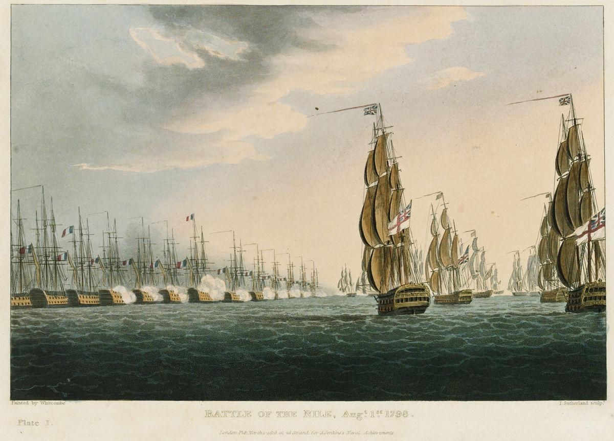 Gravure montrant une ligne serrée de 13 navires portant le drapeau français. Ces derniers ouvrent le feu sur huit navires arborant le drapeau britannique qui approche par la droite de l'image.