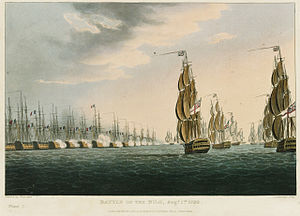 Abu Qir Bay - British ships attacking French ships at Abukir