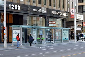 Bay station (Toronto) - Extra long shelter at the stop for southbound buses on Bay Street