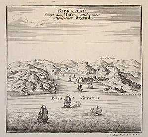 Our Lady of Europe - Gibraltar c. 1704. The Shrine of Our Lady of Europe can be seen in the foreground on the right-hand side.