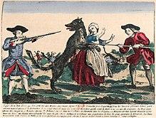 Image d'Épinal représentant un loup attaquant une paysanne attaquée par un loup et défendue par des soldats armés de fusils
