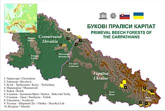 Primeval Beech Forests of the Carpathians and Other Regions of Europe - Location of massifs