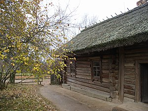 Minsk District - View of a house in the Belarusian State Museum of Folk Architecture and Life, located in Strochitsy.