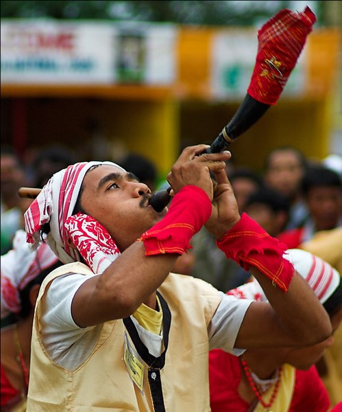 దస్త్రం:Bihu dancer with a horn.jpg