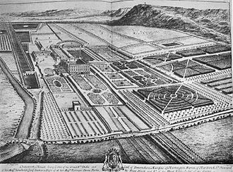 Chatsworth House - This engraving by Kip and Knyff shows Chatsworth part way through the 1st Duke's alterations. The south front has been rebuilt but the original east front survives. The baroque garden has been laid out, but only the first, smaller version of the Cascade has been built, and the Canal Pond has not been dug. The 1st Duke's stables are to the left of the house