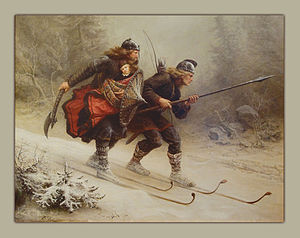 Knud Bergslien - Skiing Birchlegs Crossing the Mountain with the Royal Child. Painting located at the Holmenkollen Ski Museum, Oslo, Norway.