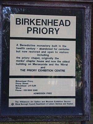 Birkenhead Priory - Birkenhead Priory Visitors Sign