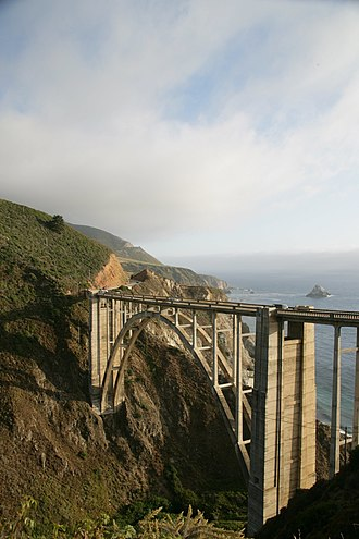 Big Sur - Bixby Creek Bridge, shown here looking southwest, is a popular attraction in Big Sur