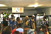 African Hebrew Israelites speak to visitors in Dimona.