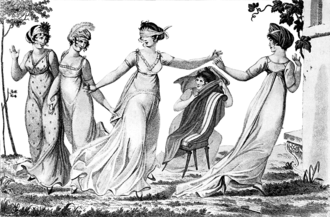 Blind man's buff - Women playing blind man's buff in 1803