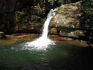 Elizabethton, Tennessee - The main waterfall at Blue Hole Falls northeast of Elizabethton on Holston Mountain