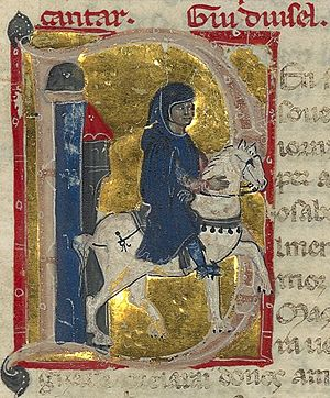 """Gui d'Ussel - His name is """"Gui duisel"""" above the top right of his miniature."""