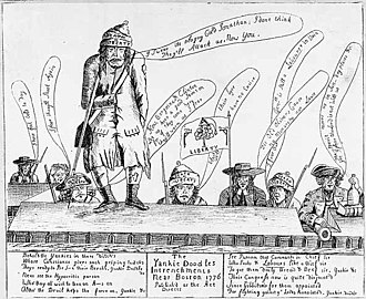 "Yankee - Loyalist newspaper cartoon from Boston ridicules ""Yankie Doodles"" militia who have encircled the British forces inside the city"