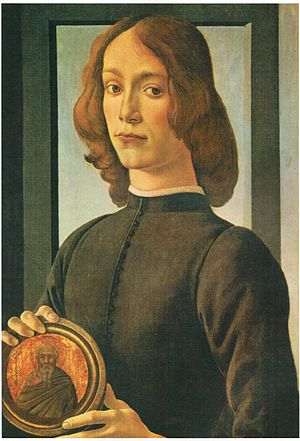 Portrait of a Man with a Medal of Cosimo the Elder - Portrait believed to be of Giovanni il Popolano, Botticelli