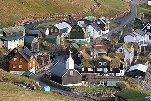 Sørvágur Municipality - Bøur as seen from above, Oct 2005