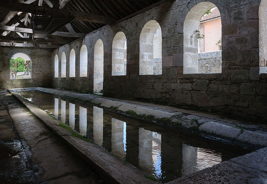 The lavoir in Noyers, Yonne department, Burgundy, France.