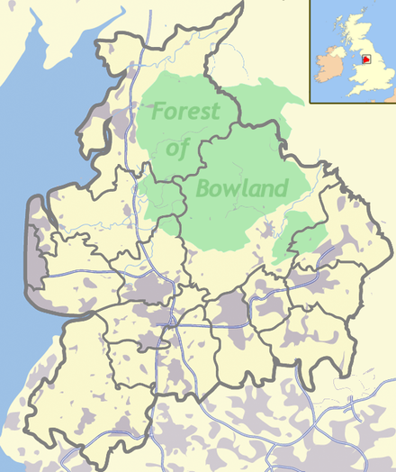 Bowland, northern England Bowland & Lancs labelled with UK.png