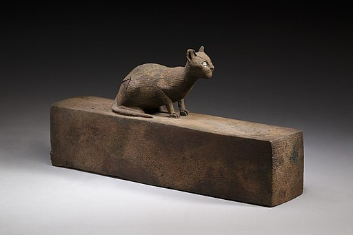 Box for animal mummy surmounted by a cat, inscribed MET LC-12 182 27 EGDP023744