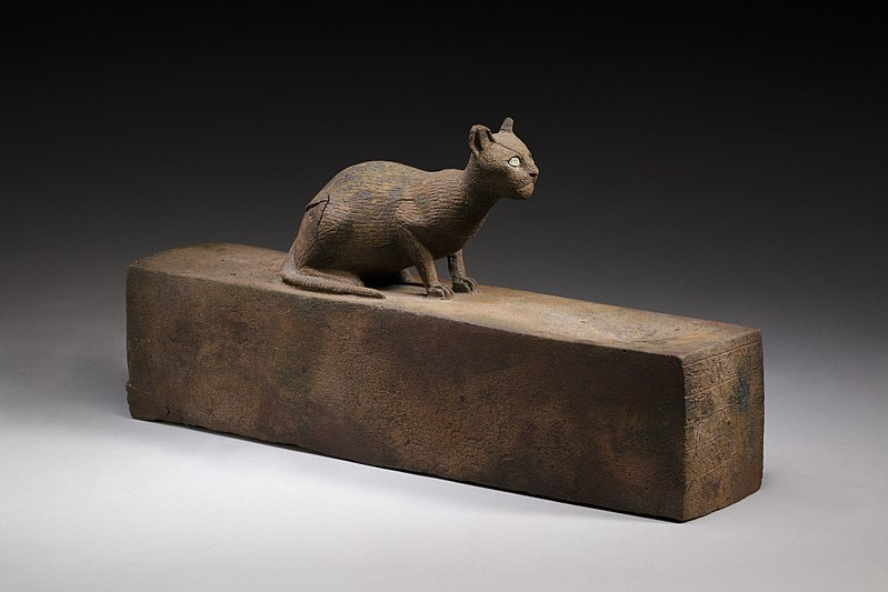 Photograph of a box for animal mummy surmounted by a cat.