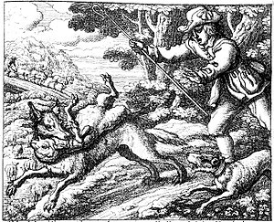 The Boy Who Cried Wolf - Francis Barlow's illustration of the fable, 1687