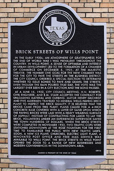 File:Brick Streets of Wills Point Historical Marker.jpg