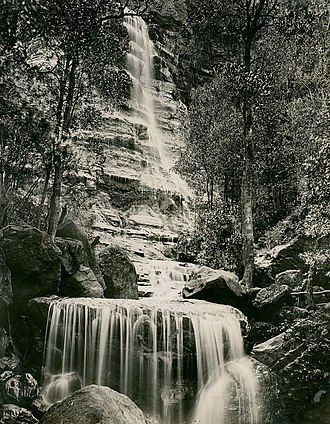 Bridal Veil Falls, Leura - An historical image of the Bridal Veil Falls at Leura