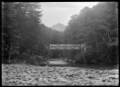 Bridge over a river flowing through beech forest, probably in the Otago region, circa 1926. ATLIB 299946.png