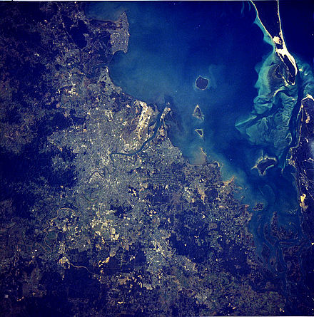 Satellite image of Brisbane Metropolitan Area taken in 1984 Brisbane Aerial From Satellite.jpg