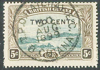Stamp of 1899 depicting Mount Roraima with a Travelling Post Office cancellation of the East Coast Railway British Guiana East Coast Railway TPO.jpg