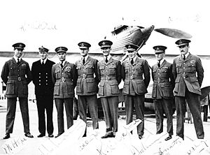 High Speed Flight RAF - British team for the 1931 Schneider Trophy race. From left to right; Hope, Brinton, Long, Stainforth, Orlebar, Boothman, Snaith and Dry