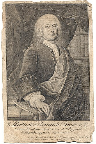 Brockes Passion - Engraved portrait of Brockes (1744) by Christian Fritsch (1704–1760)