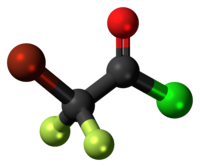 Ball-and-stick model of the bromodifluoroacetyl chloride molecule