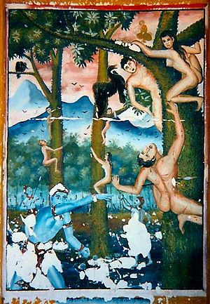 Naraka (Buddhism) - A mural from a temple in northern Thailand depicting naked beings climbing thorn-covered trees, pecked by birds from above, and attacked from below by hell guards armed with spears. There are icy mountains in the background, and Phra Malaya watches from above.