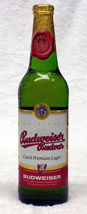 South Bohemian Region - 500ml bottle of Budweiser Budvar, as marketed in the UK